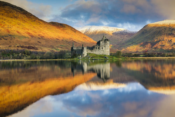 Kilchurne Castle Reflecting in Loch Awe, Argyll & Bute, Scotland